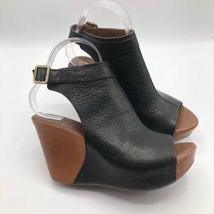 Kork-Ease Sz 7 Berit Leather Wedge Heels Peep Toe